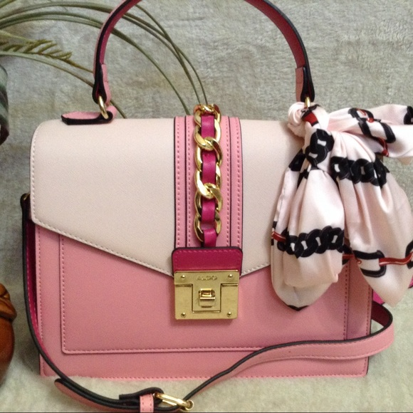 Aldo Bags | Pink Satchel With Scarf Nwt